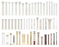 A set of columns and pillars of different styles. Architectural warrant  on white background. 3D visualization. A set of columns and pillars of different styles Royalty Free Stock Photography