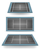 Set of combinated tennis courts with perspective Royalty Free Stock Photography