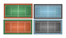 Set of combinated tennis courts Stock Photos