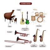 A Set of Combo Brand Music Equipment. Illustration Brown Color Collection of Musical Instruments Combo Brand, Piano, Guitar, Electric Bass Guitar, Drum Kit Stock Photography