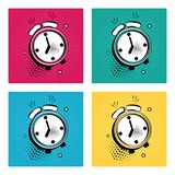 Set of comic alarm clock with stars on colorful background in pop art style. Vector illustration vector illustration