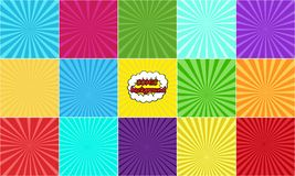 Set of comic backgrounds with rays royalty free illustration