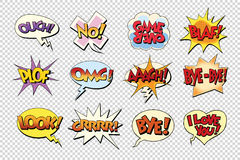 Set comic book bubble stickers. Pop art retro vector illustration. Isolate on a neutral background Royalty Free Stock Photos