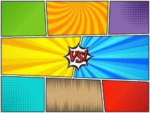 Set of comic book templates. In bright colors with versus concept, radial, rays, dotted and halftone effects. Pop-art style. Blank background. Vector Stock Image