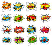 Set of comic bubble speech clouds, onomatopoeia. Sound replicas or comic speech bubbles for crash and wham, explosion bang and boom message with bomb, oops and Royalty Free Stock Images