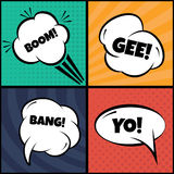 Set of comic bubbles and elements  art,with halftone shado Stock Photo
