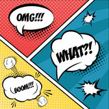 A set of comic bubbles and elements in pop art Royalty Free Stock Photo