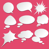 Set of comic bubbles and elements. With on stylish red background cartoon design style Stock Photos