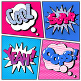 Set of Comic Bubbles in Pop Art Style Royalty Free Stock Images