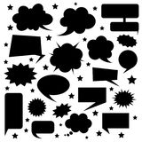 Set of comic bubbles the silhouette. Speaking and thinking eleme Stock Photo
