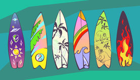 Set of comic cartoon surfboards with original design. Vector illustrations for summer vacation design. Stock Photography