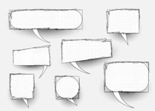 Set of comic doodles, hand drawn speech bubbles and black and white texture. Vector cartoon comics isolated on white background