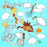 Set of comic elements. Vector illustration Signs on color background royalty free stock images