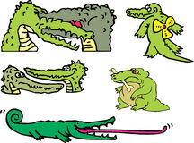 Set of comic gators and amusing crocodiles Royalty Free Stock Images