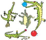 Set of comic gators in curcus (crococircus) Royalty Free Stock Photos