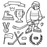 Set of comic hand drawn ice hockey doodle sketches,. Elements Royalty Free Stock Photo