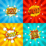 Set of comic happy new year banners. Vector illustration. Decorative set of backgrounds for happy new year with bomb explosive in pop art style Stock Photos