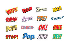 Set of comic phrases. Pop art retro vector illustration Royalty Free Stock Photos