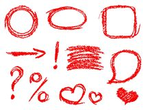 Set of comic red design elements. Crayon chalk hand drawn frame, heart, speech bubble, arrow Royalty Free Stock Images