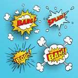 Set of comic sound effects. Halftone shadows. Vector illustration Royalty Free Stock Photo
