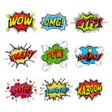Set of comic speech bubble. Speech. Bomb with bang and pow cloud, wow bubble and wtf communication symbol, danger and shouting, humour speech expression Stock Images