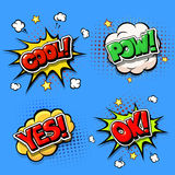 Set of Comic speech bubbles and dynamic explosion boom Royalty Free Stock Images