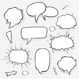 Set of comic speech bubbles and elements with halftone shadows. Cartoon style. Vector illustration in black and white Stock Photos