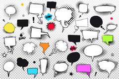 Set of comic speech bubbles and elements with halftone shadows. Vector illustration. Isolated on transparent background Stock Images