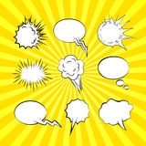 Set of comic speech bubbles and explosion elements Royalty Free Stock Photo