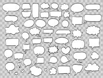 Set of comic speech bubbles on transparent background. vector il Royalty Free Stock Images