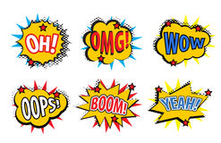 Set comic stickers, retro style. Set comic stickers icons isolated on white background. Set pop art stickers, comic style design e. Lement. Vector illustration Royalty Free Stock Images