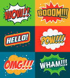 Set of comic style phrases. Boom, Wow, OMG. Stock Photos