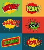 Set of comic style phrases Stock Photos