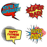 Set of comic style phrases for Dad Day. Cartoon style text. Stock Image
