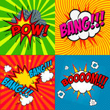 Set of comic style phrases Stock Images