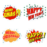 Set of comic style phrases for xmas. Cartoon style text.. Happy New Year. Merry Christmas.  Vector illustration Stock Photo