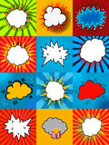 Set of comic style speech bubbles with colorful backgrounds Royalty Free Stock Photo