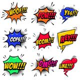 Set of comic style speech bubbles with sound text effects. Design element for poster, card, banner, flyer. royalty free illustration