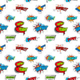 Set of comic text, Pop art style phrases. Seamless pattern Royalty Free Stock Photography