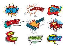 Set of Comic Text, Pop Art style Stock Image