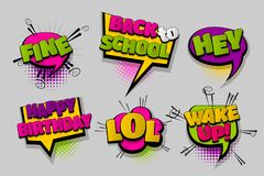 Set comic text speech bubble pop art. Hey fine LOL wake up pop set hand drawn pictures effects template comics speech bubble halftone dot background pop art Royalty Free Stock Image