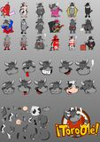 Set of comical bulls. Illustrated set of cartoon bulls with different body parts and clothing vector illustration