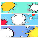Set of comics boom backgrounds. Set of comics boom speech bubble backgrounds, vector illustration Royalty Free Stock Photos