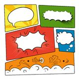 Set comics bubbles. Set of graphic comics speech bubbles, vector templates clouds for text on strip background vector Stock Images