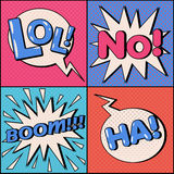 Set of Comics Bubbles in Pop Art Style. Expressions Lol, No, Ha, Boom. Vector illustration in vintage style stock illustration