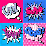 Set of Comics Bubbles in Vintage Style Stock Photography
