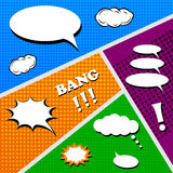 Set of comics elements and bubbles. In pop art style Royalty Free Stock Photo