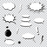 Set of comics speech bubbles. On transparent background Royalty Free Stock Photo