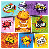 Set of comics speech and explosion bubbles 2. Set of comics speech and explosion bubbles on a comics book background. Colored with text Stock Photo