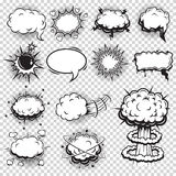 Set of comics speech and explosion bubbles Stock Photography